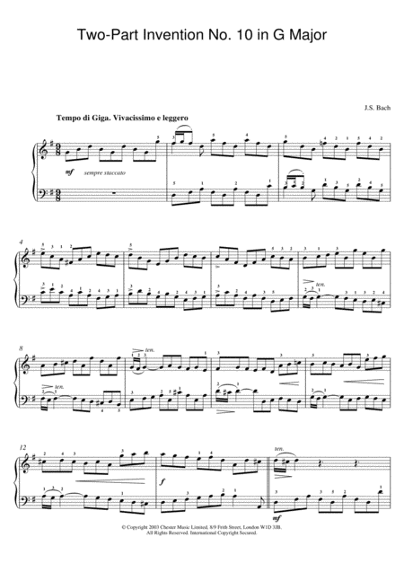 Two-Part Invention No. 10 In G Major