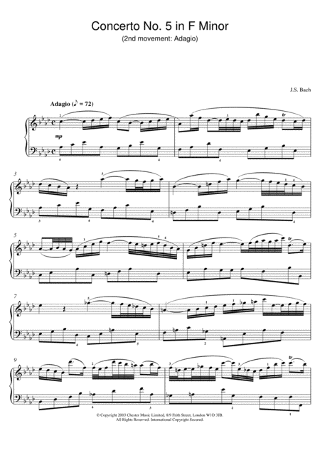 Piano Concerto No. 5 in F Minor (2nd movement: Adagio)