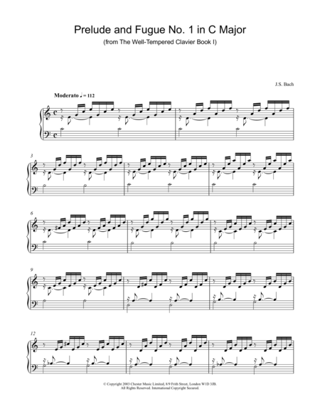 Prelude And Fugue No. 1 In C Major (from The Well-Tempered Clavier Book 1)