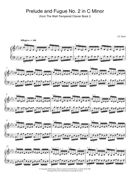 Prelude And Fugue No. 2 In C Minor (from The Well-Tempered Clavier Book I)