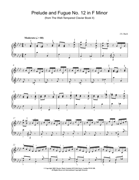 Prelude And Fugue No. 12 In F Minor (from The Well-Tempered Clavier Book II)
