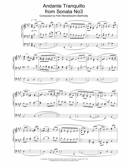 Andante Tranquillo from Sonata No3