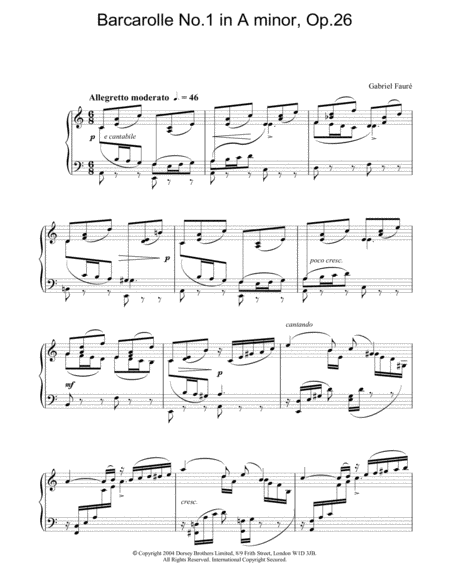 Barcarolle No.1 in A minor, Op.26