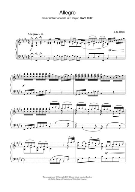 Allegro from Violin Concerto In E Major, BWV 1042
