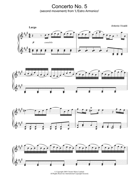 Largo) from 'L'Estro Armonico' Op.3