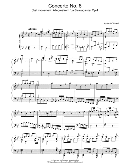 Concerto No.6 (1st Movement: Allegro) from 'La Stravaganza' Op.4