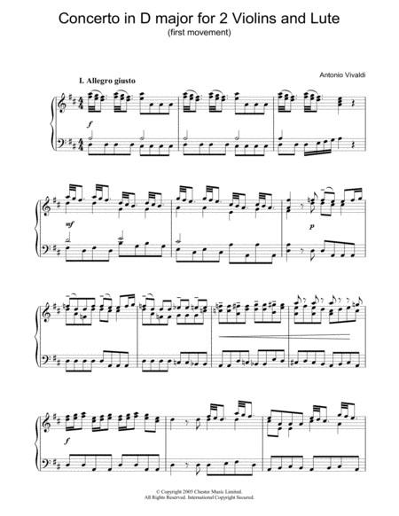 Concerto in D major for 2 Violins and Lute (first movement)
