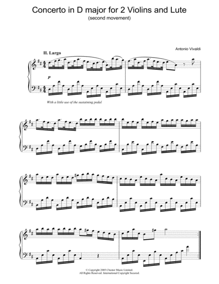 Concerto in D major for 2 Violins and Lute (second movement)