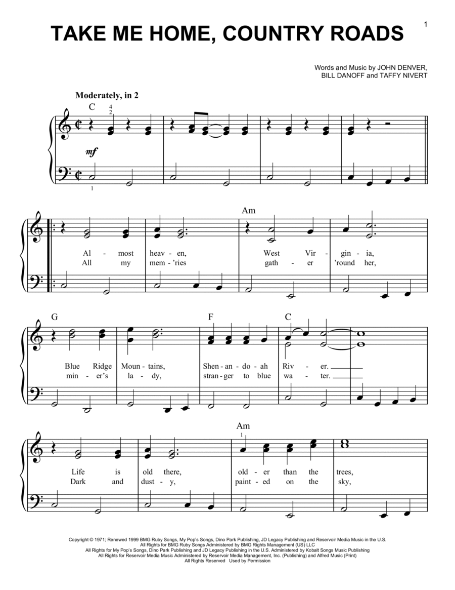 Download Take Me Home Country Roads Sheet Music By John