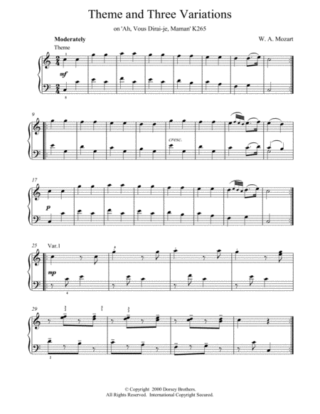 Theme and Three Variations on 'Ah, Vous Dirai-je, Maman' K265