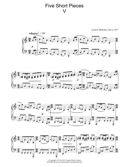 Five Short Pieces, No. 5, Op. 4