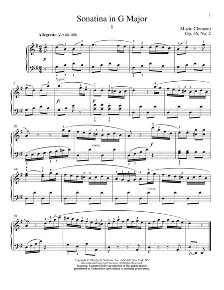 Sonatina In G Major, Op. 36, No. 2