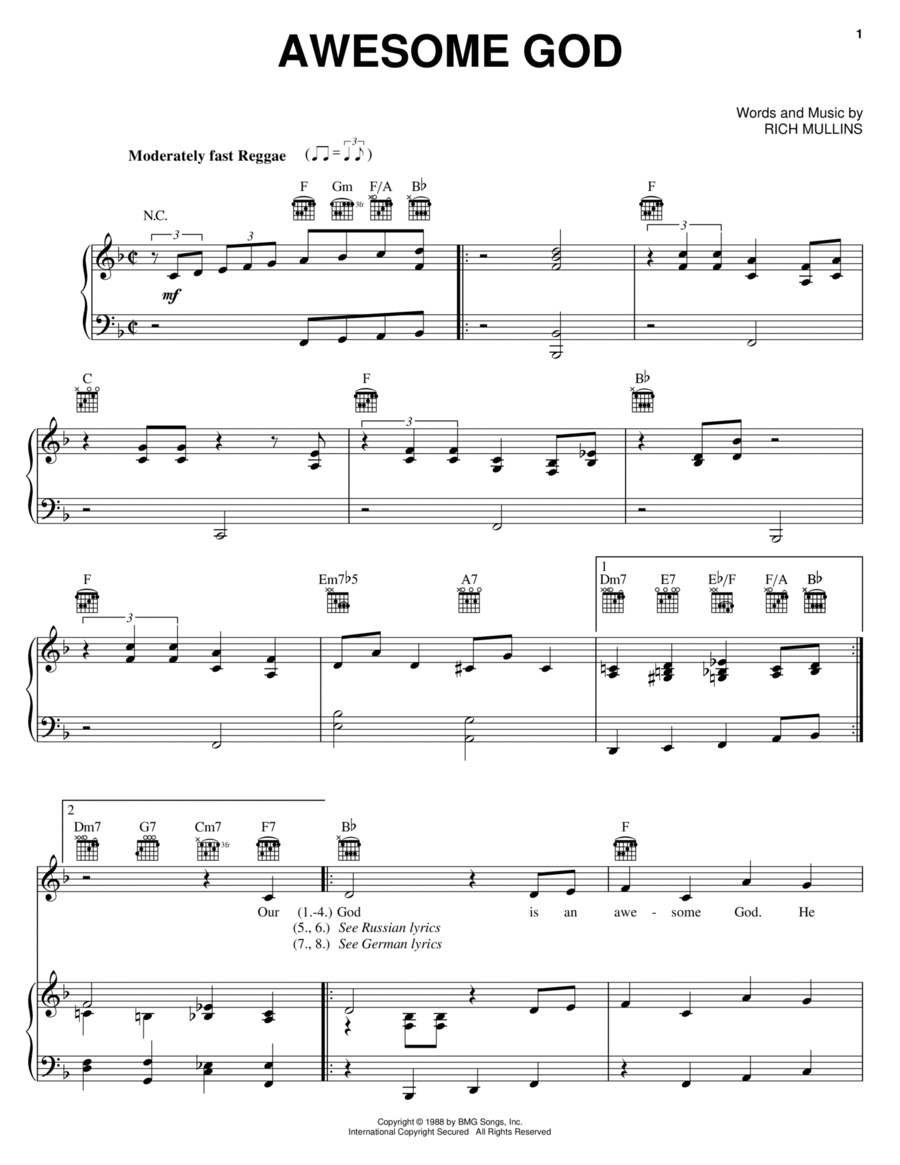 download awesome god sheet music by rich mullins sheet music plus. Black Bedroom Furniture Sets. Home Design Ideas