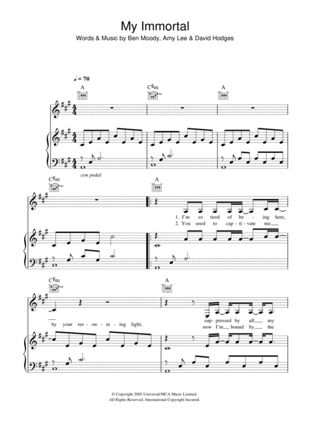 Download My Immortal Sheet Music By Evanescence Sheet Music Plus