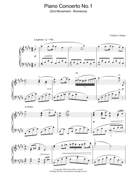 Piano Concerto No. 1 (2nd Movement - Romance)