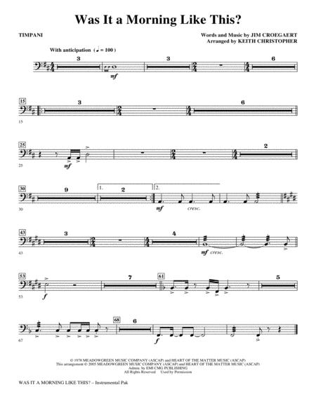 Was It A Morning Like This? - Timpani