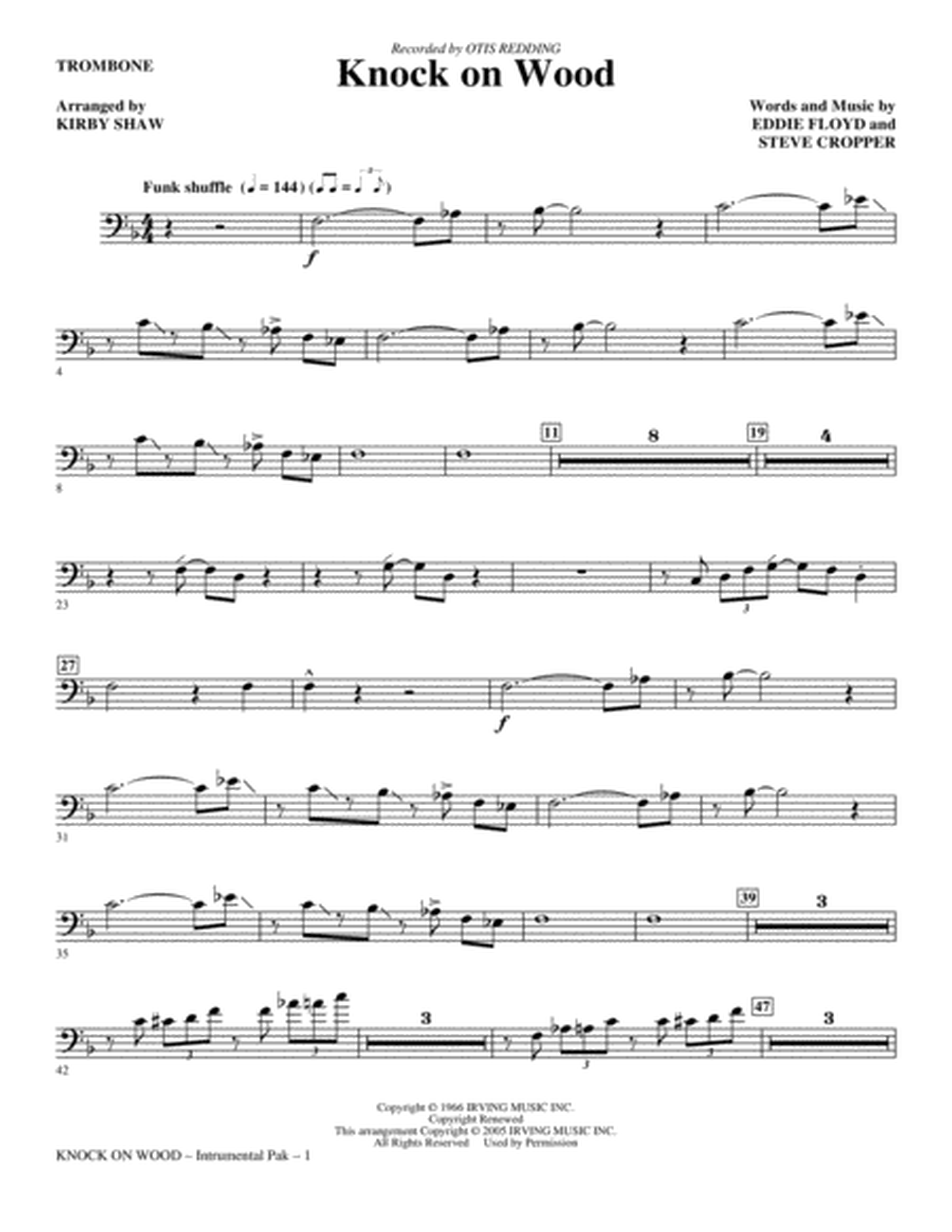 Knock On Wood - Trombone