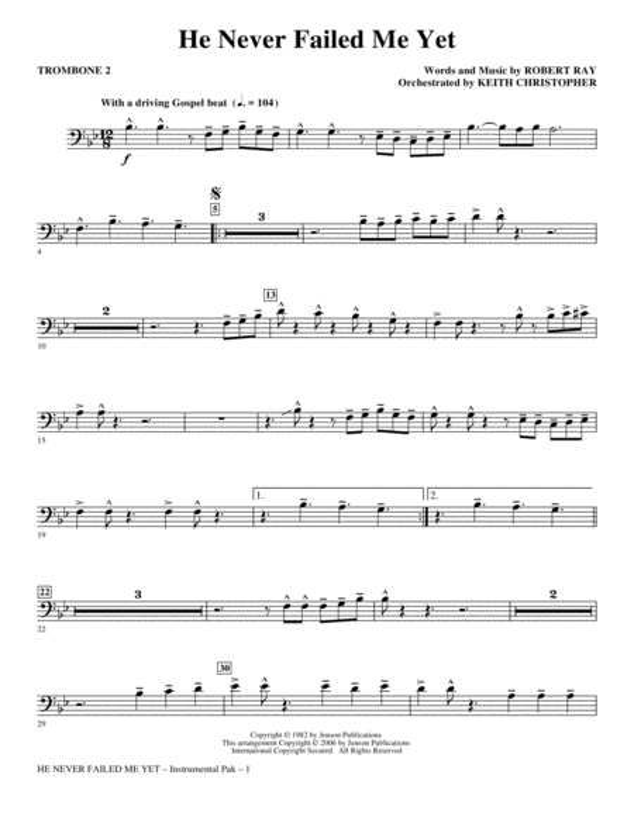 He Never Failed Me Yet - Trombone 2
