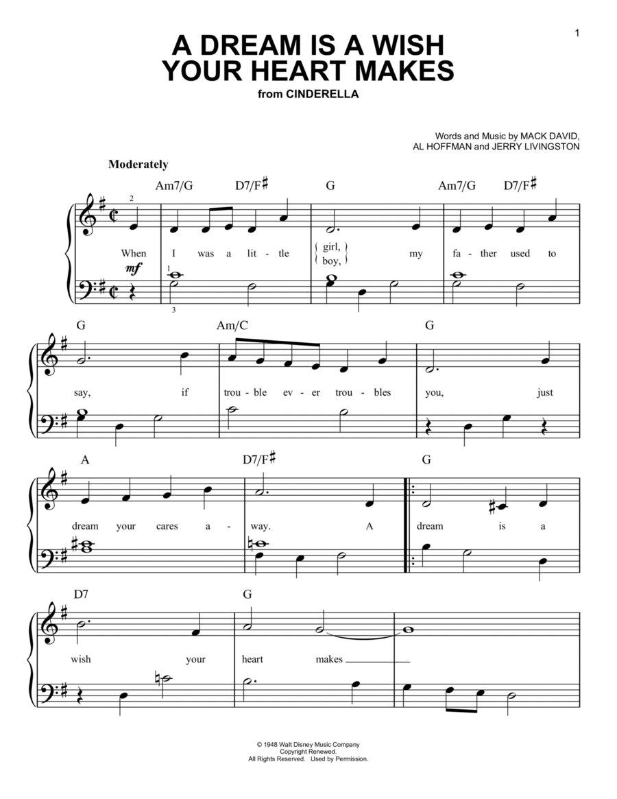 Download A Dream Is A Wish Your Heart Makes Sheet Music By ... A Dream Is A Wish Your Heart Makes Images
