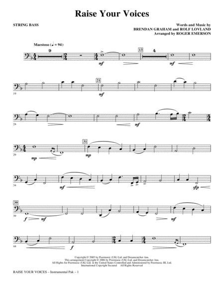 Raise Your Voices - String Bass