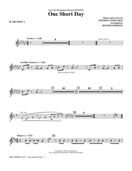 One Short Day - Bb Trumpet 1