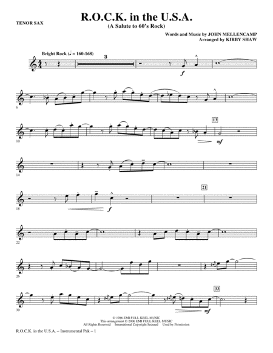 R.O.C.K. In The U.S.A. (A Salute To 60's Rock) - Tenor Sax