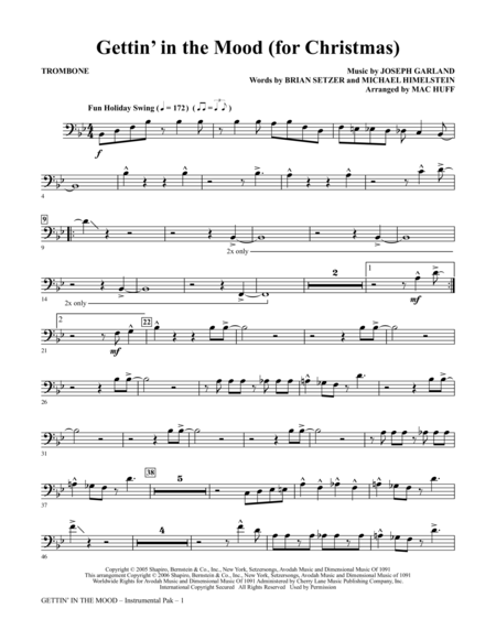 Gettin' In The Mood - For Christmas - Trombone