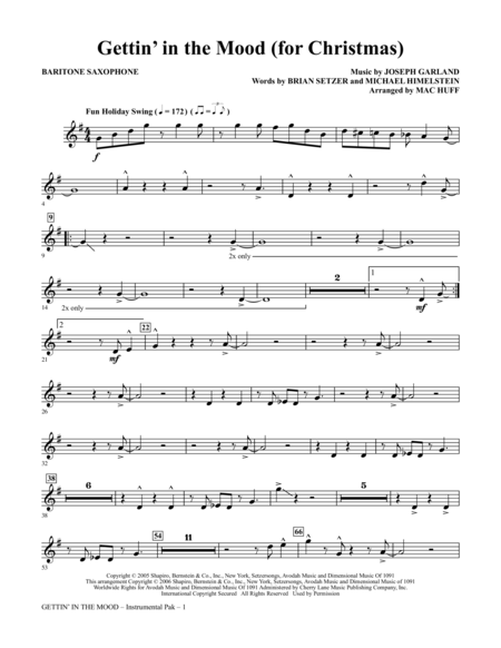 Gettin' In The Mood - For Christmas - Baritone Saxophone