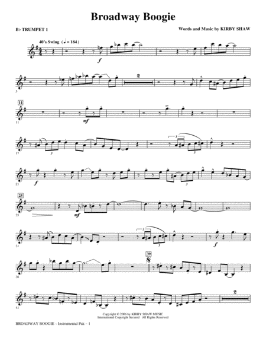 Broadway Boogie - Trumpet 1