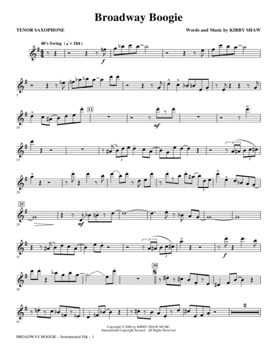 Broadway Boogie - Tenor Sax
