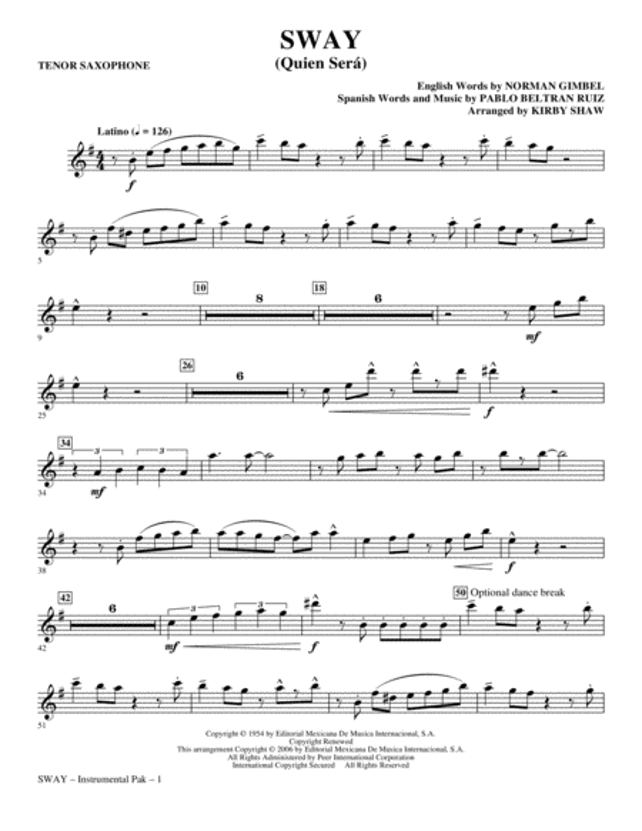 Sway (Quien Sera) - Tenor Sax
