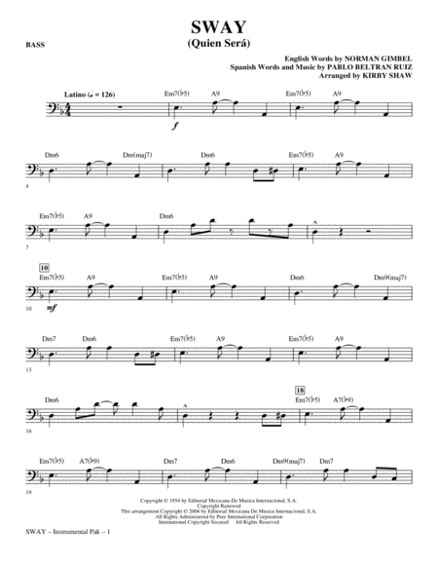Sway (Quien Sera) - Bass