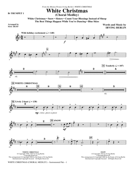 White Christmas (Choral Medley) - Bb Trumpet 1