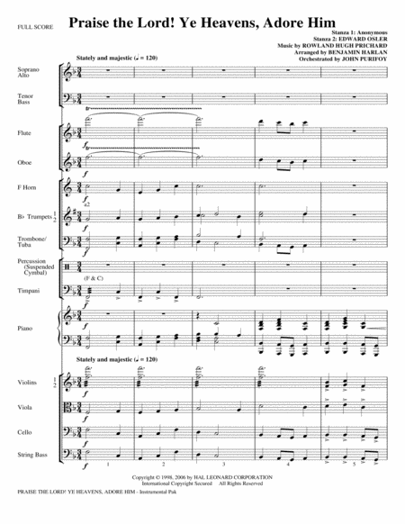 Praise The Lord! Ye Heavens, Adore Him - Full Score