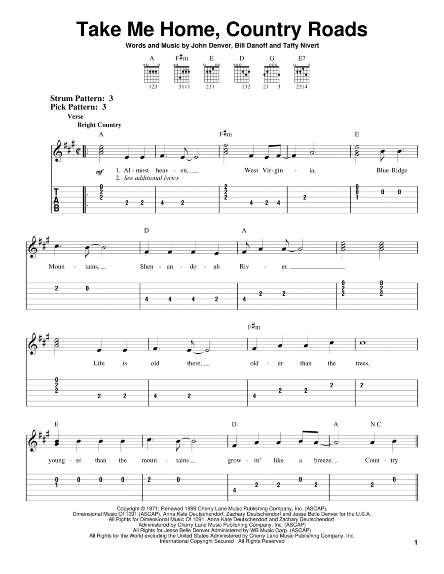download take me home country roads sheet music by john denver sheet music plus. Black Bedroom Furniture Sets. Home Design Ideas