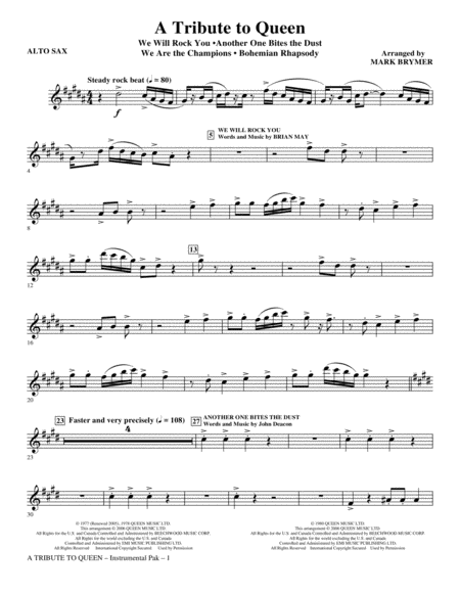 A Tribute To Queen (Medley) - Eb Alto Sax