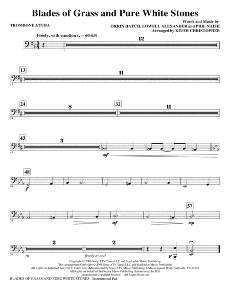 Blades Of Grass And Pure White Stones - Trombone 3/Tuba