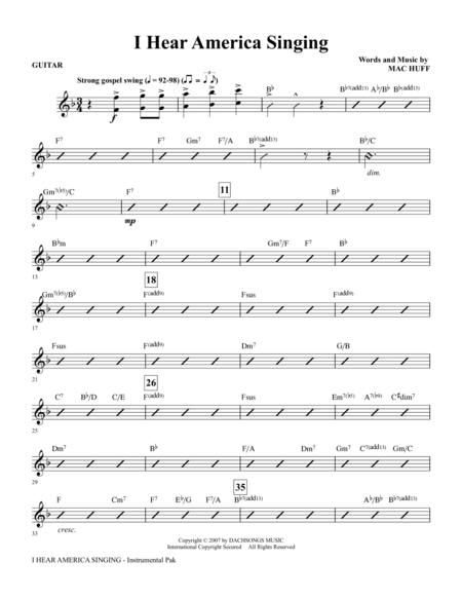 I Hear America Singing - Guitar
