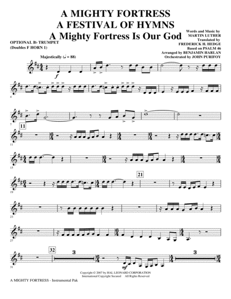A Mighty Fortress - A Festival of Hymns - Opt. Trumpet (Doubles Horn 1)