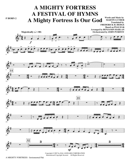 A Mighty Fortress - A Festival of Hymns - F Horn 2