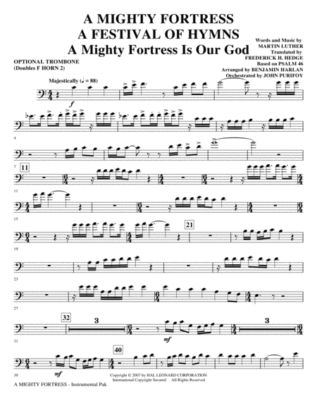 A Mighty Fortress - A Festival of Hymns - Opt. Trombone (Doubles Horn 2)