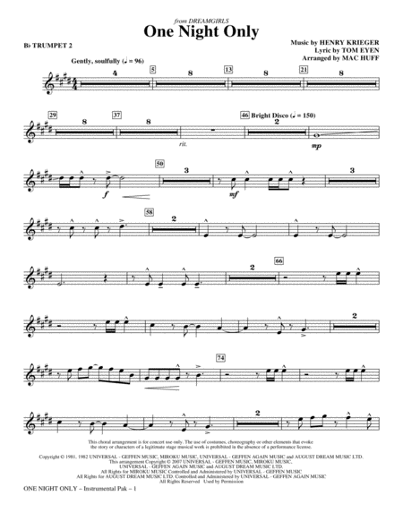 One Night Only (from Dreamgirls) - Bb Trumpet 2