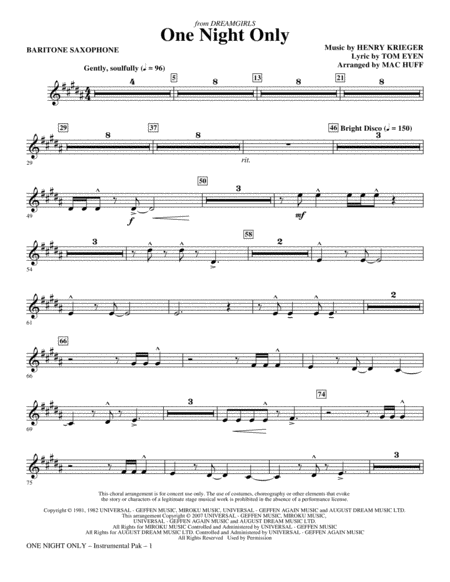 One Night Only (from Dreamgirls) - Baritone Sax