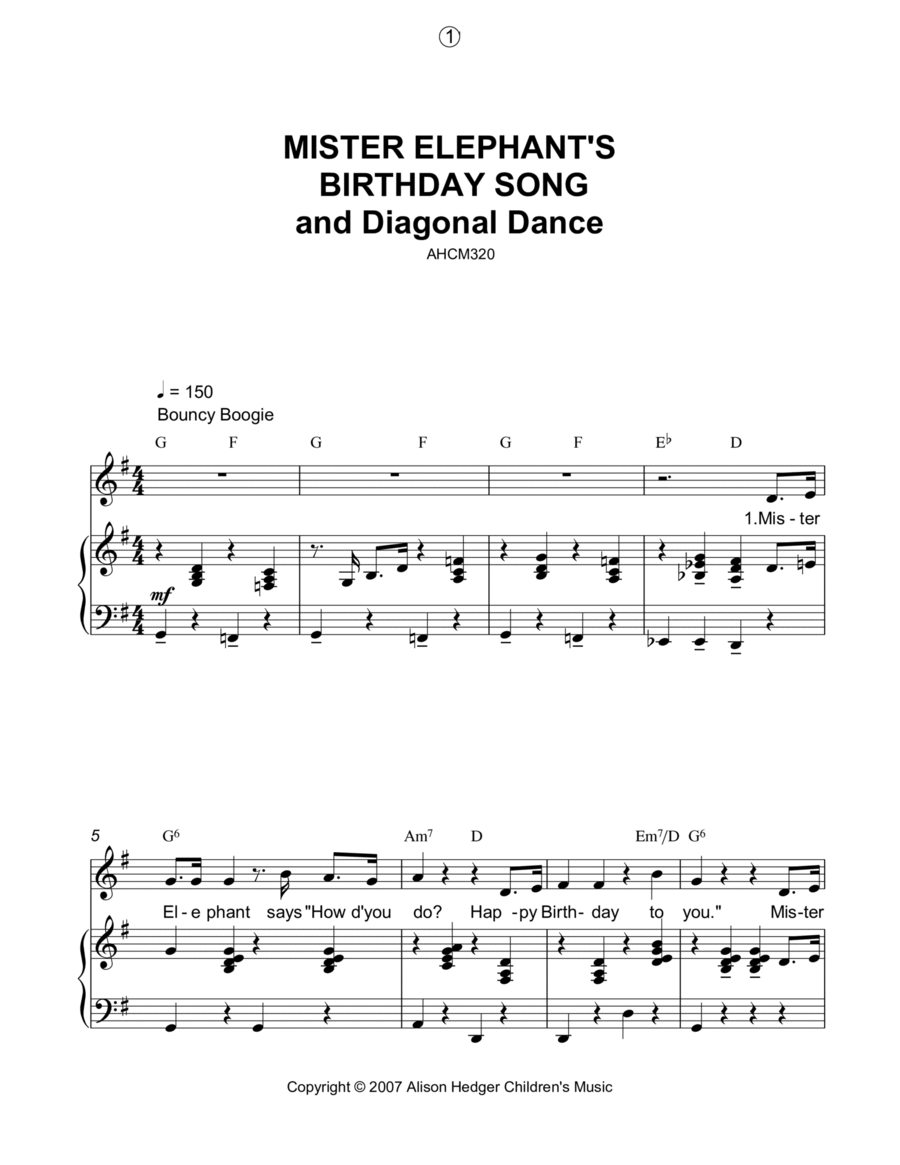 Mister Elephant's Birthday Song And Diagonal Dance