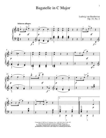 Bagatelle In C Major, Op. 33, No. 2