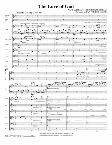 The Love Of God - Full Score