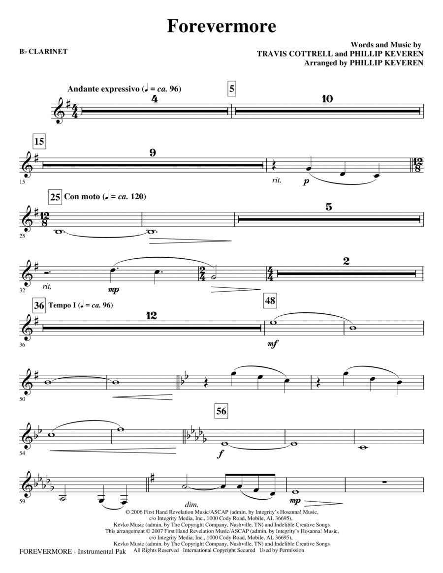 Piano piano chords of forevermore : Forevermore - Bb Clarinet