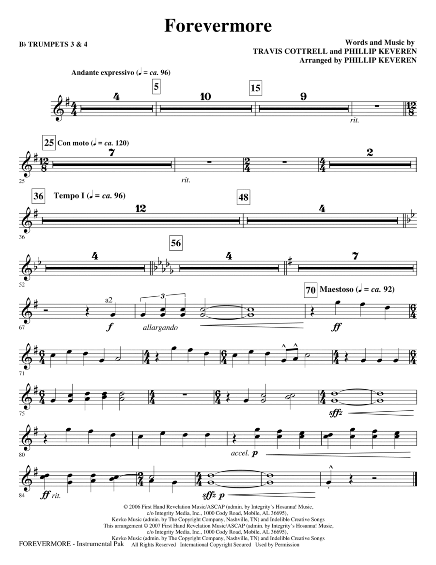 Forevermore - Bb Trumpet 3,4