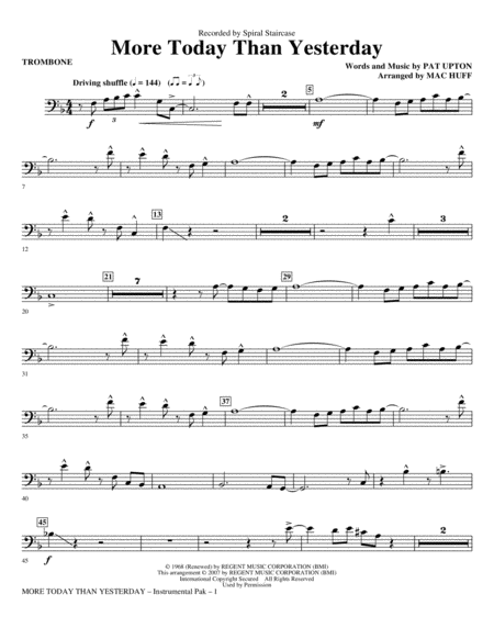 More Today Than Yesterday - Trombone