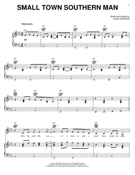 Download Small Town Southern Man Sheet Music By Alan